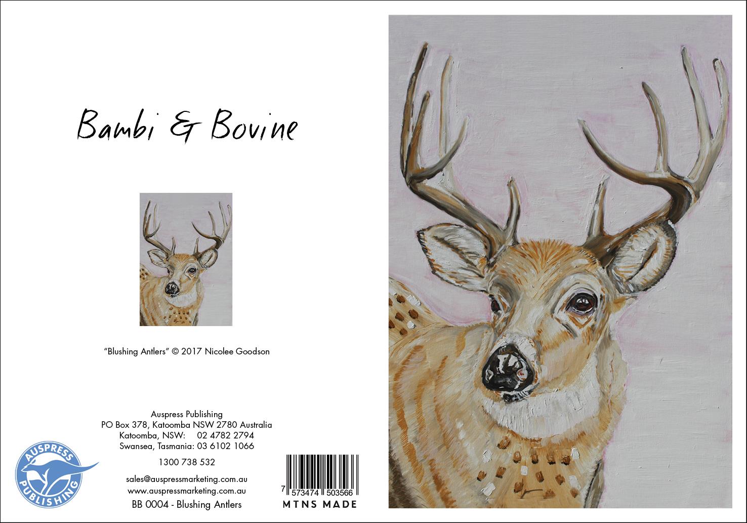 Bb004 Blushing Antlers Greeting Card