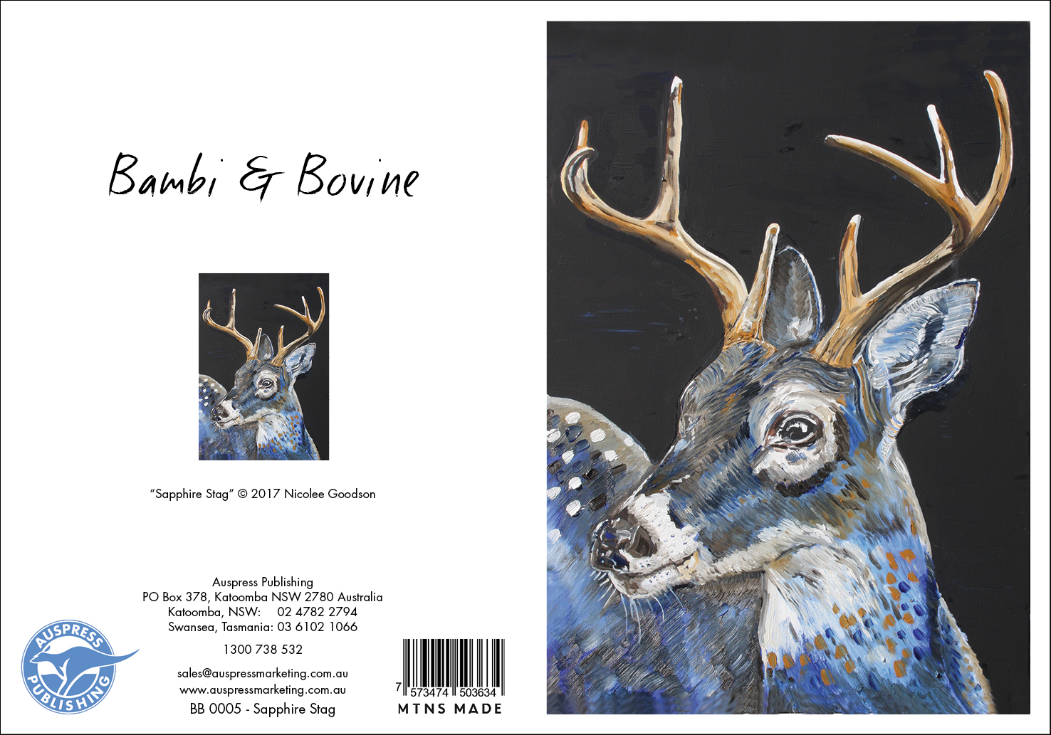 Bb005 Sapphire Stag Greeting Card
