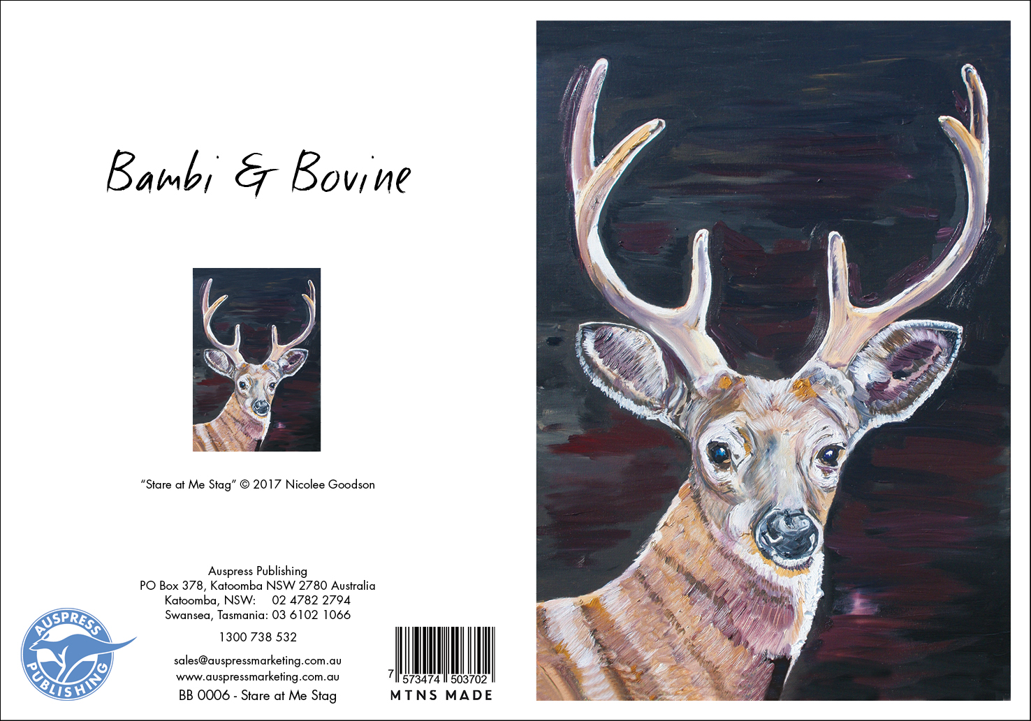 Bb006 Stare At Me Stag Greeting Card